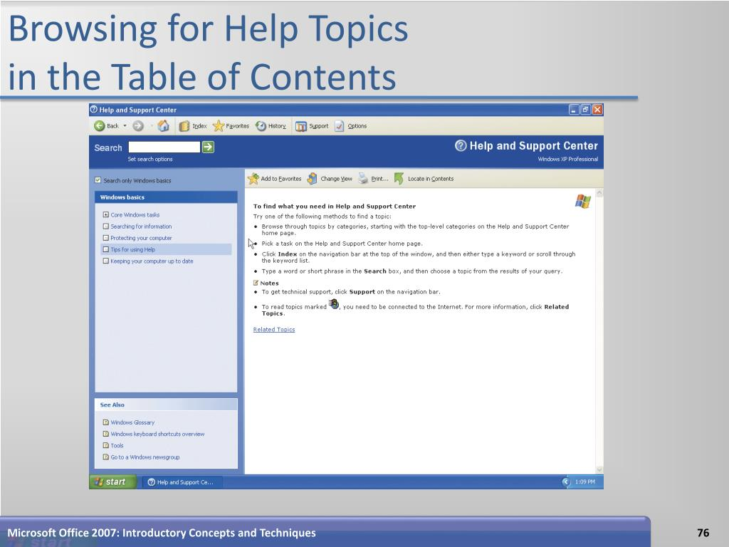 Browsing for Help Topics