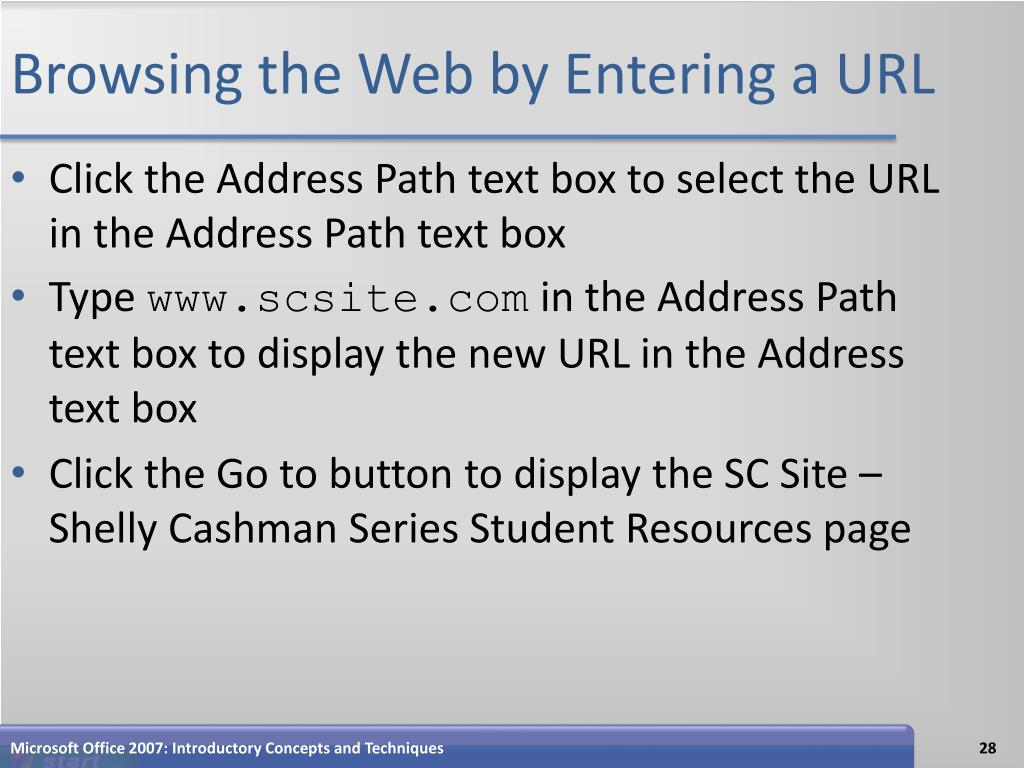 Browsing the Web by Entering a URL