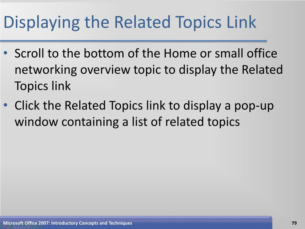 Displaying the Related Topics Link