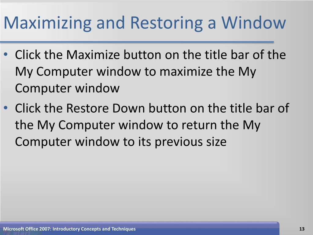 Maximizing and Restoring a Window