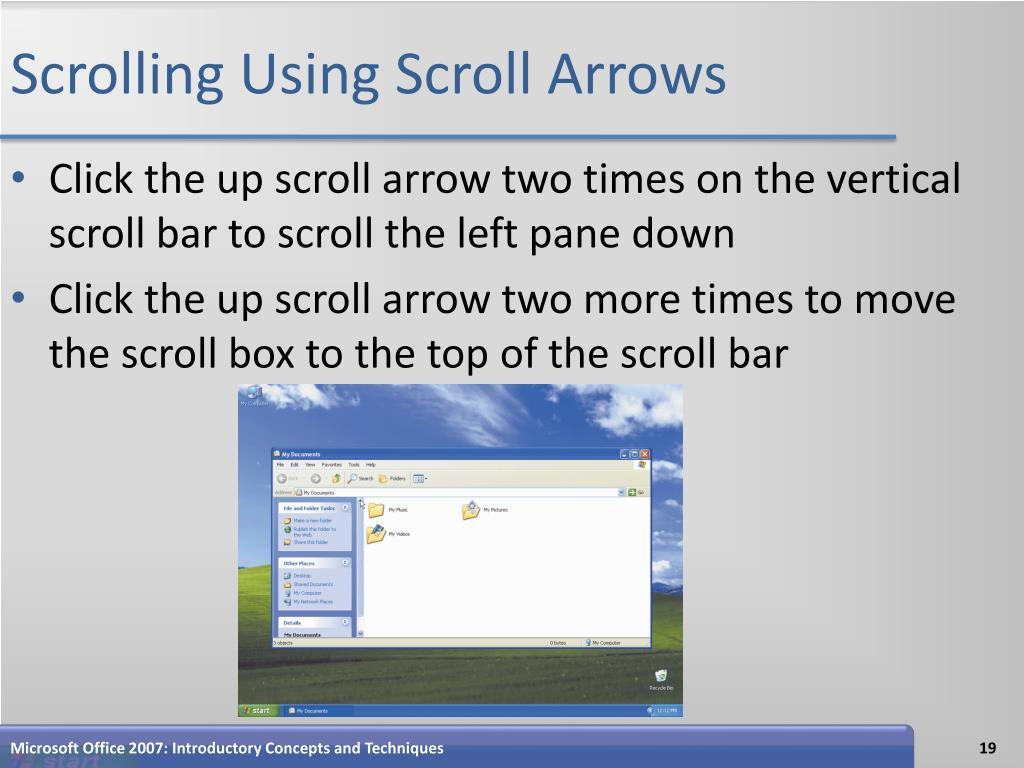 Scrolling Using Scroll Arrows