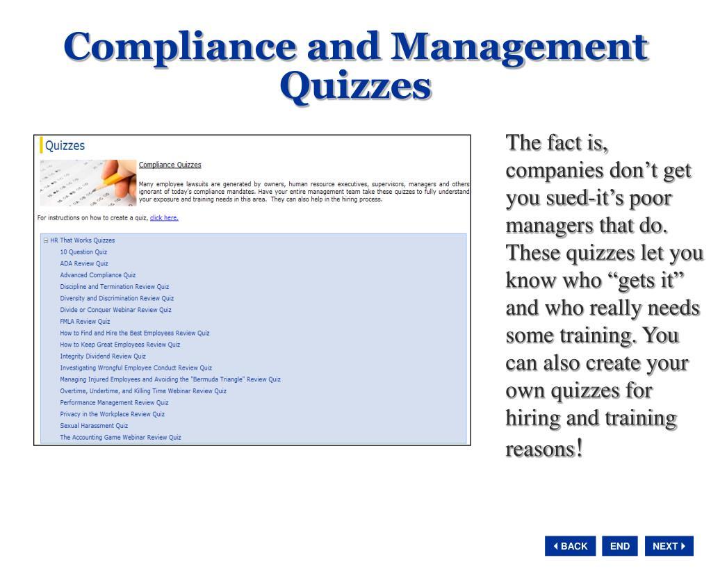 Compliance and Management Quizzes