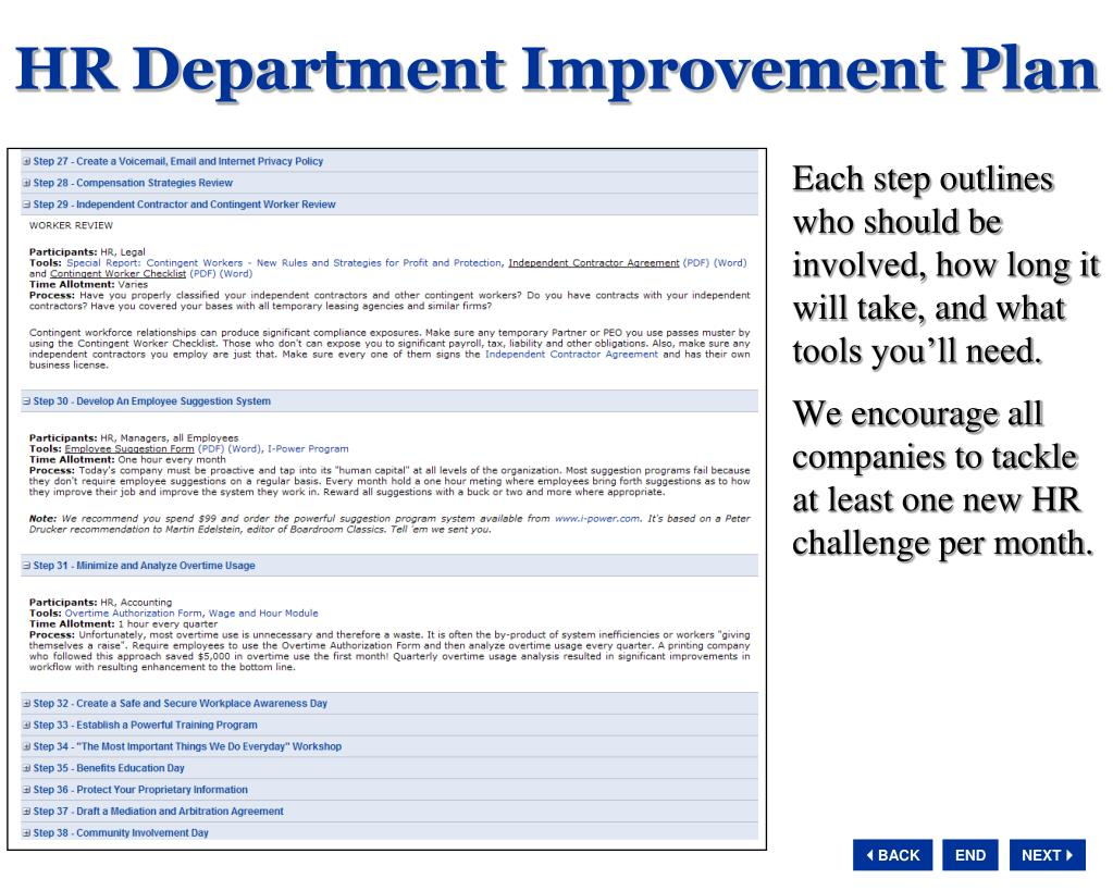 HR Department Improvement Plan