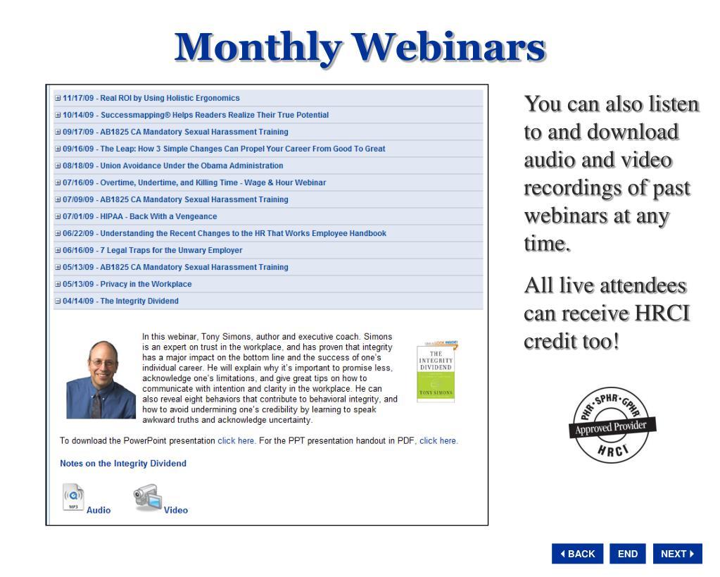Monthly Webinars