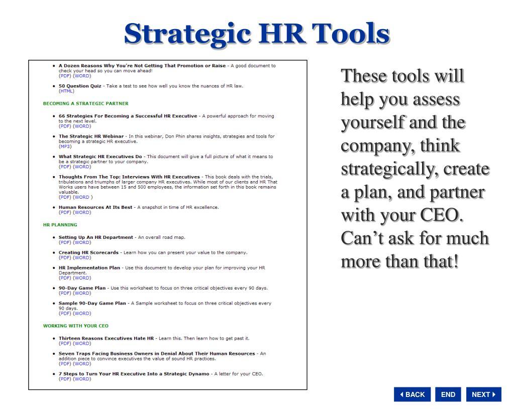 Strategic HR Tools