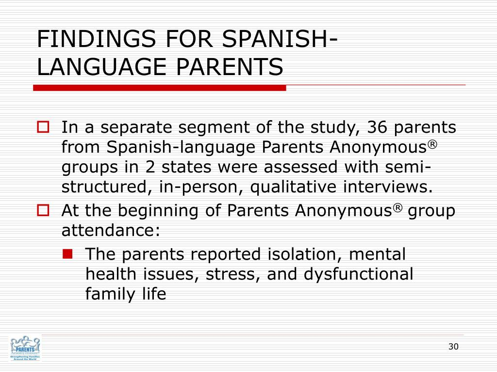 FINDINGS FOR SPANISH-LANGUAGE PARENTS