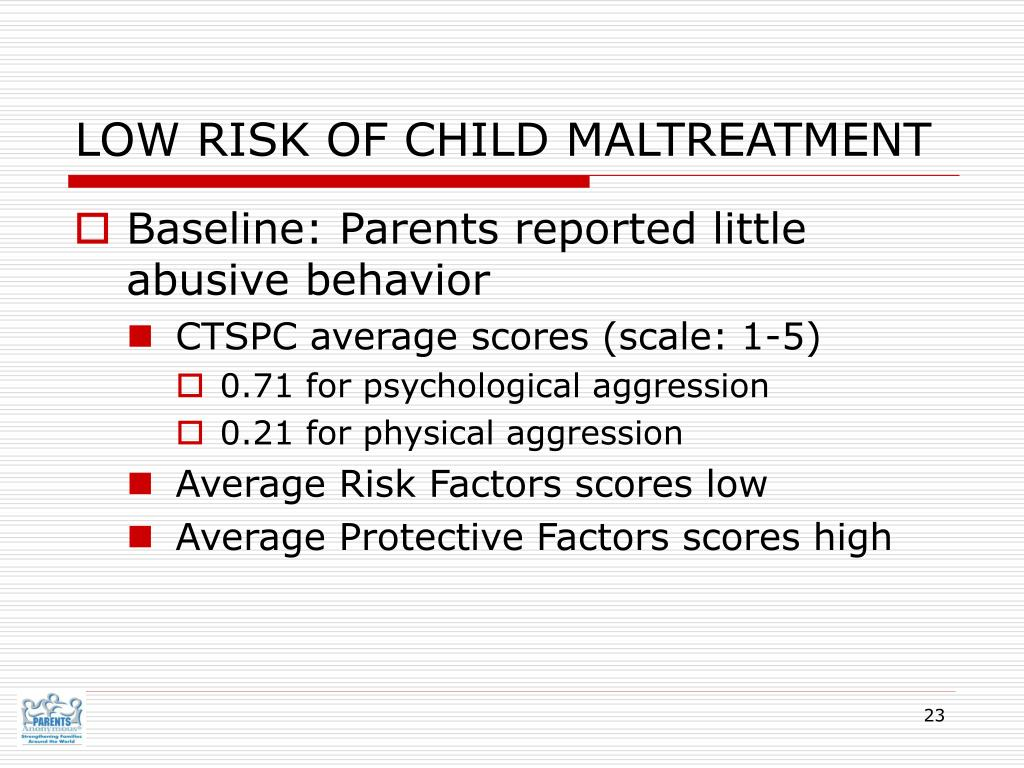 LOW RISK OF CHILD MALTREATMENT