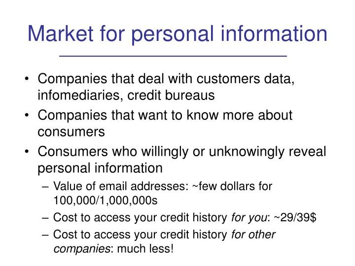 Market for personal information
