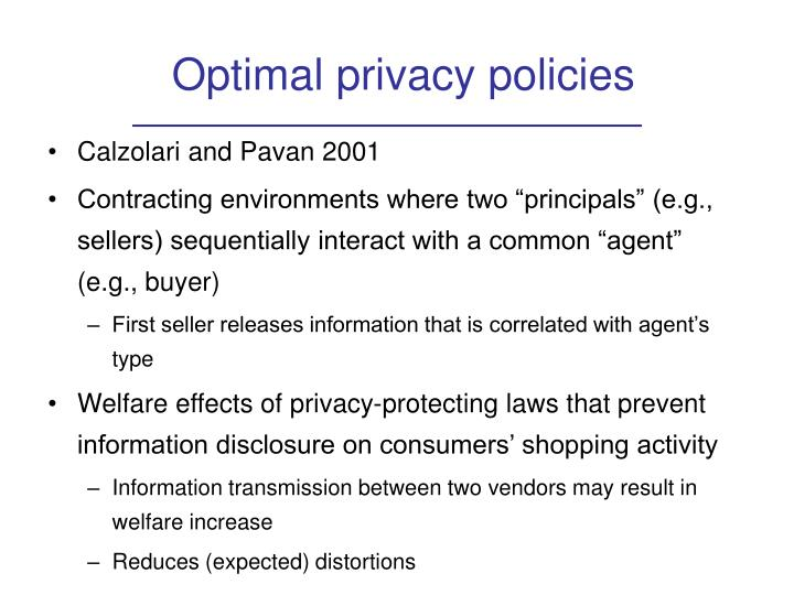 Optimal privacy policies