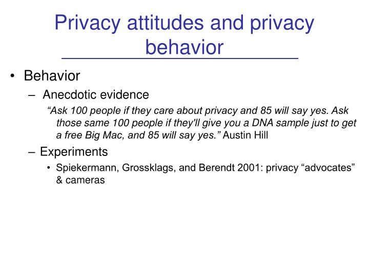 Privacy attitudes and privacy behavior