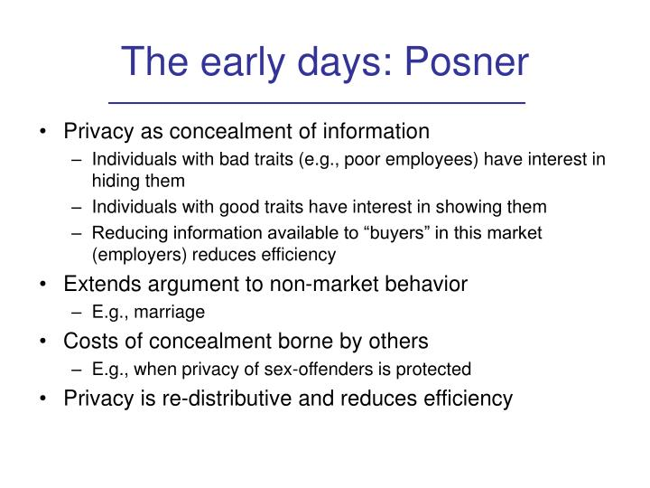 The early days: Posner