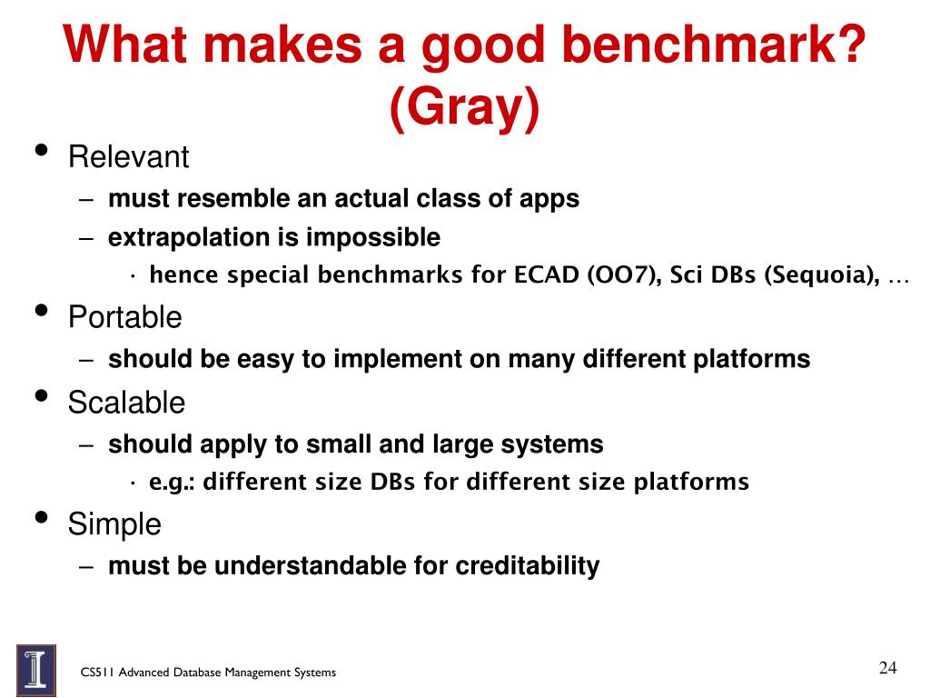 What makes a good benchmark? (Gray)