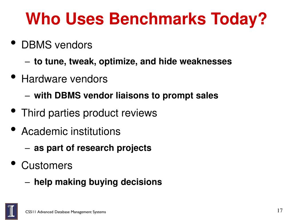 Who Uses Benchmarks Today?