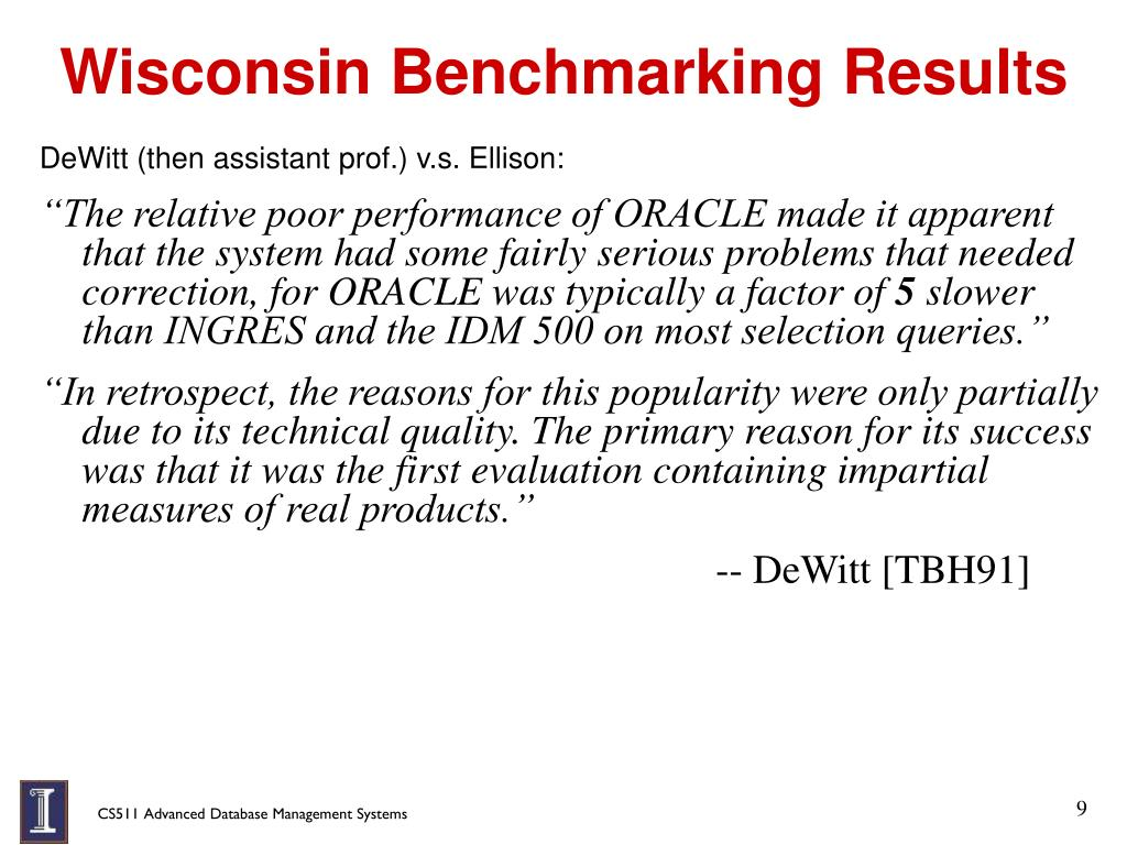 Wisconsin Benchmarking Results