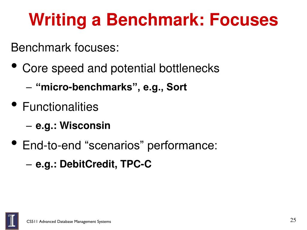 Writing a Benchmark: Focuses