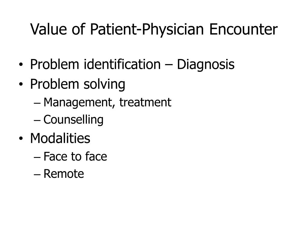 Value of Patient-Physician Encounter