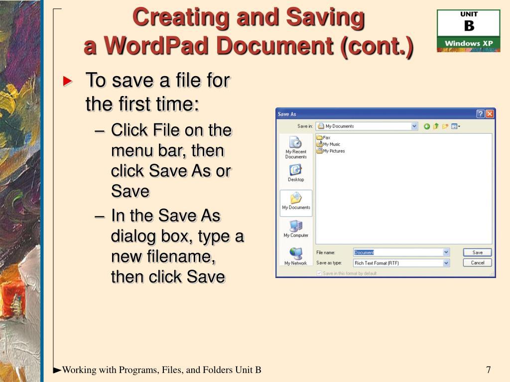 Creating and Saving