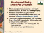 creating and saving a wordpad document