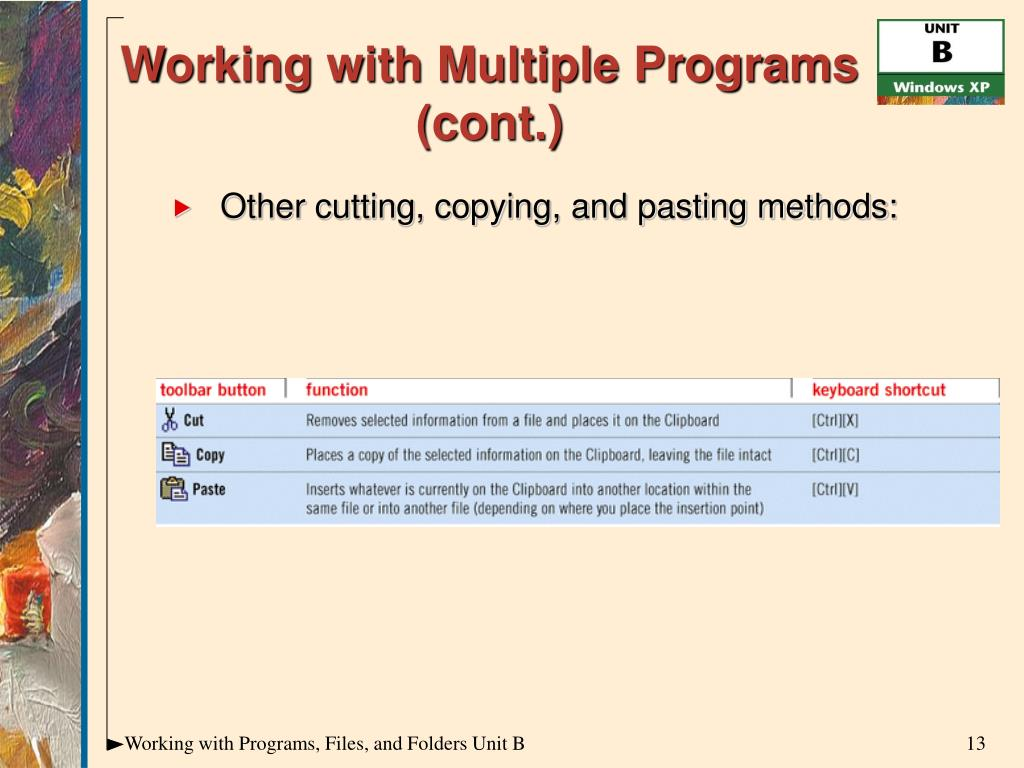 Working with Multiple Programs (cont.)