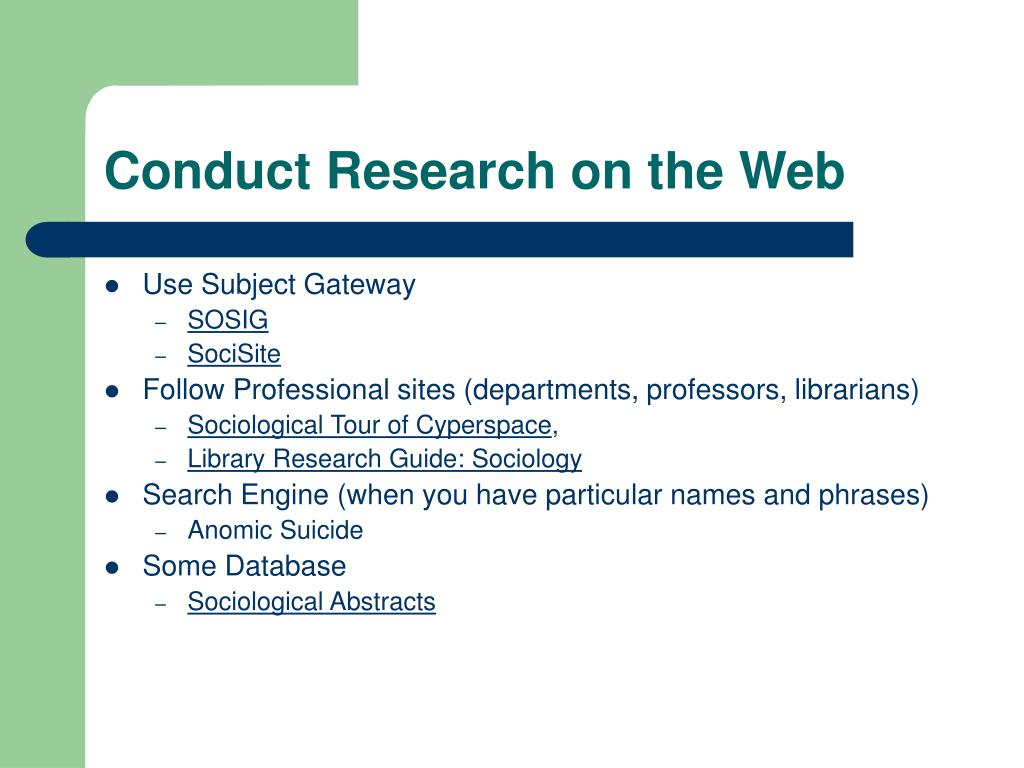 Conduct Research on the Web