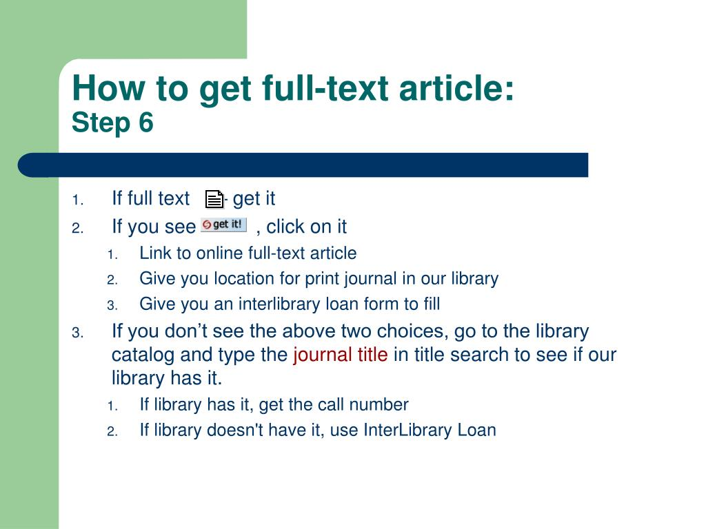 How to get full-text article: