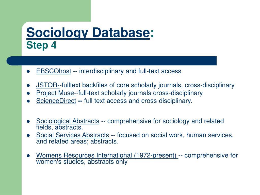 Sociology Database