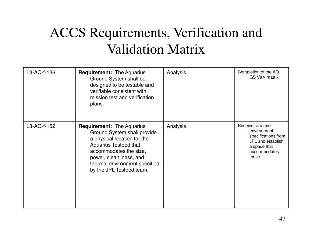 ACCS Requirements, Verification and Validation Matrix
