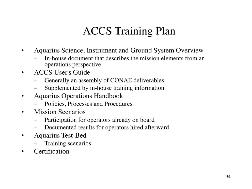 ACCS Training Plan