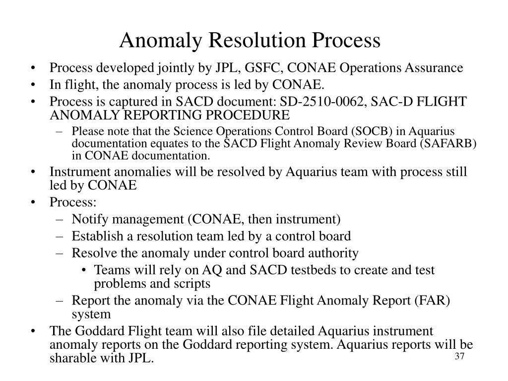Anomaly Resolution Process