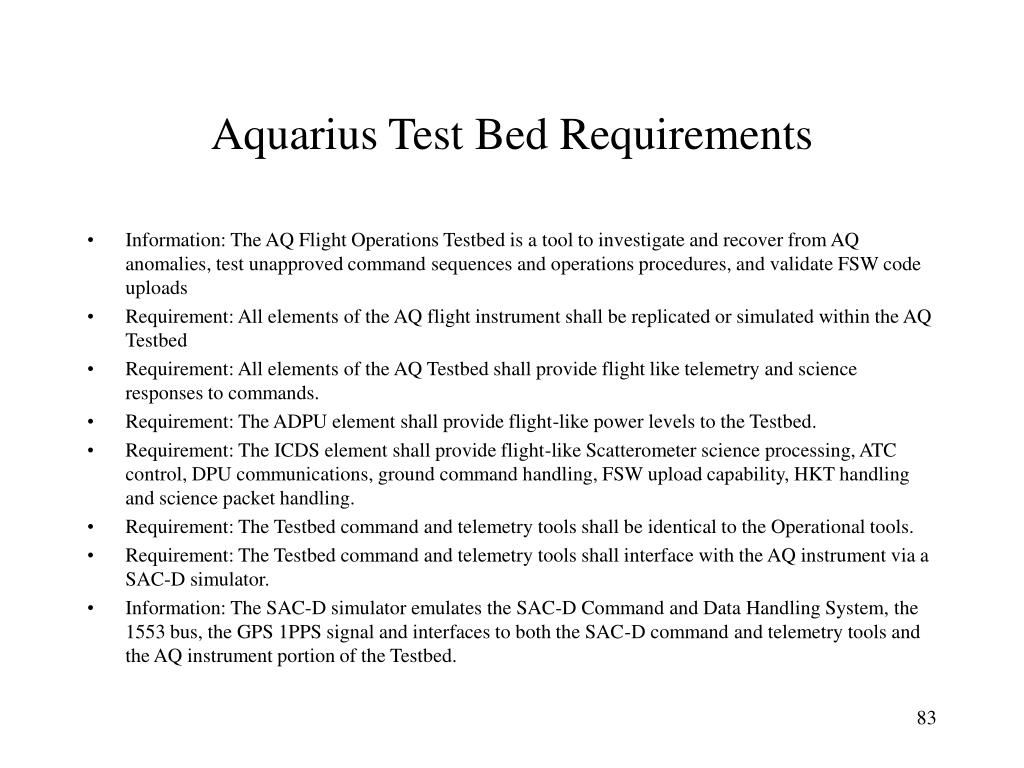 Aquarius Test Bed Requirements