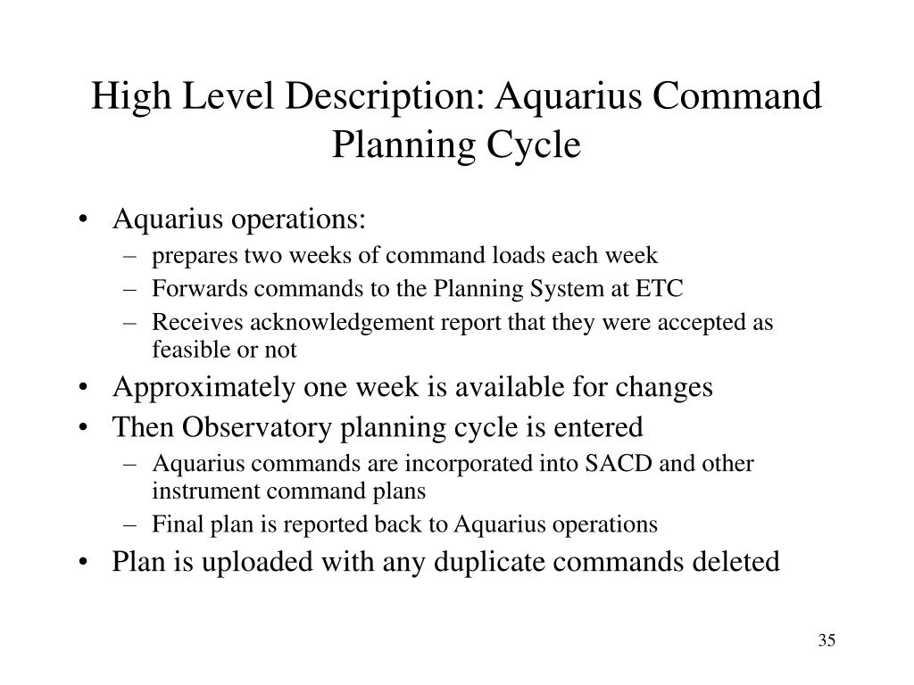 High Level Description: Aquarius Command Planning Cycle