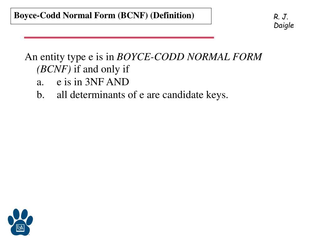 Boyce-Codd Normal Form (BCNF) (Definition)
