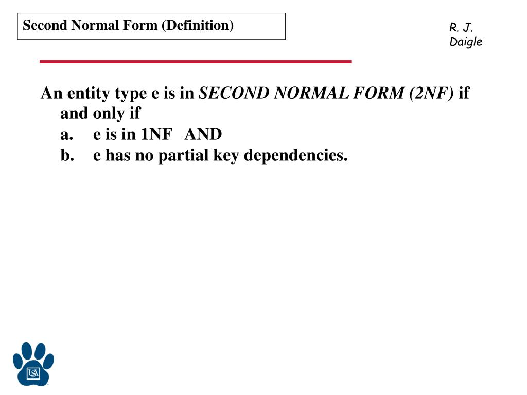 Second Normal Form (Definition)