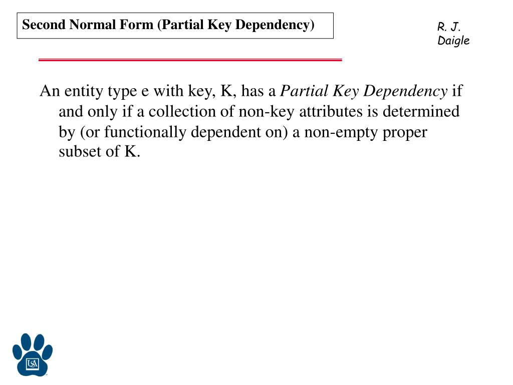 Second Normal Form (Partial Key Dependency)