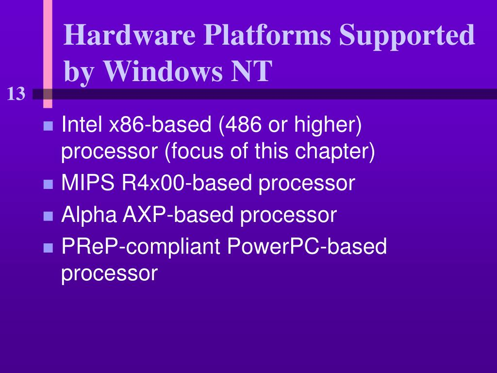Hardware Platforms Supported by Windows NT