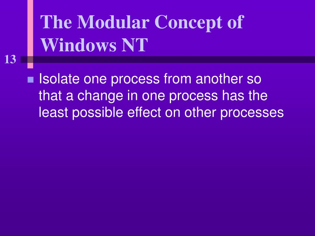 The Modular Concept of Windows NT