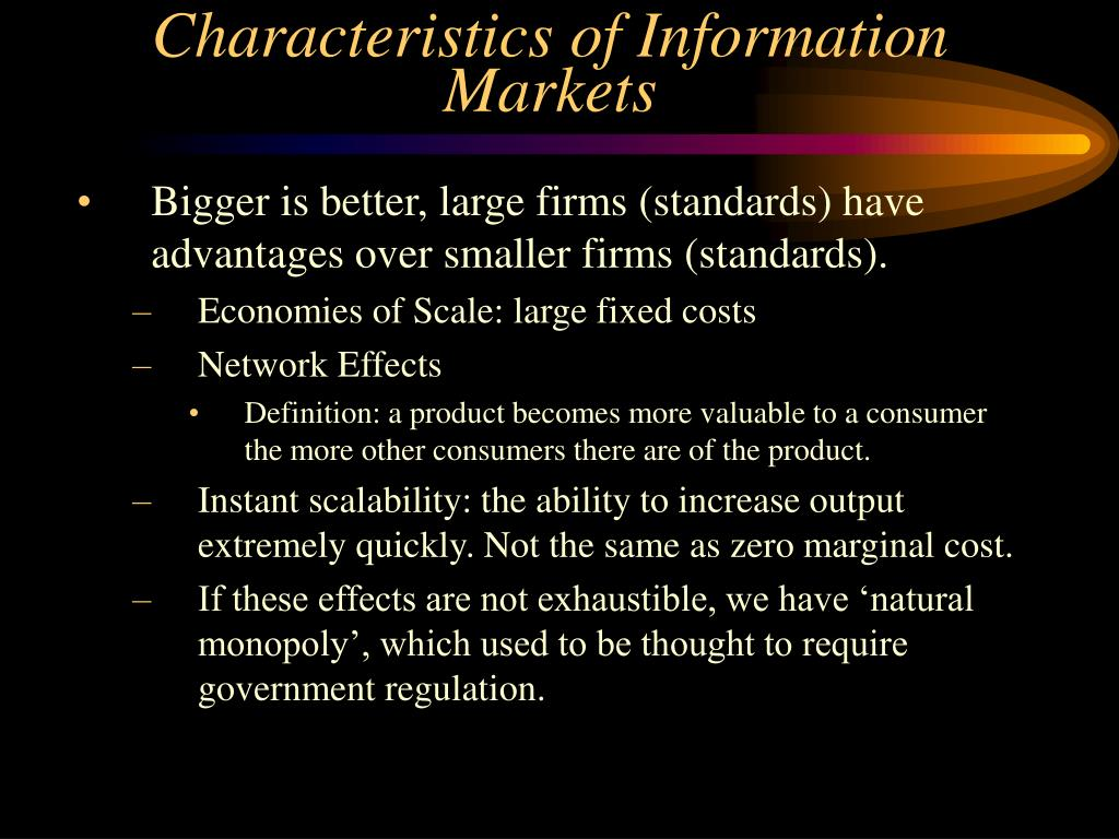 Characteristics of Information Markets