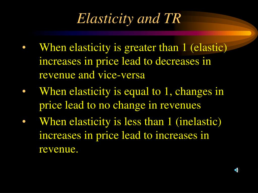 Elasticity and TR