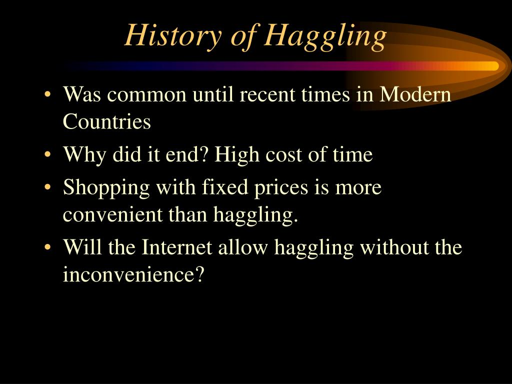 History of Haggling