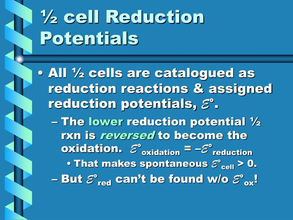 ½ cell Reduction Potentials