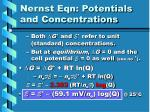nernst eqn potentials and concentrations