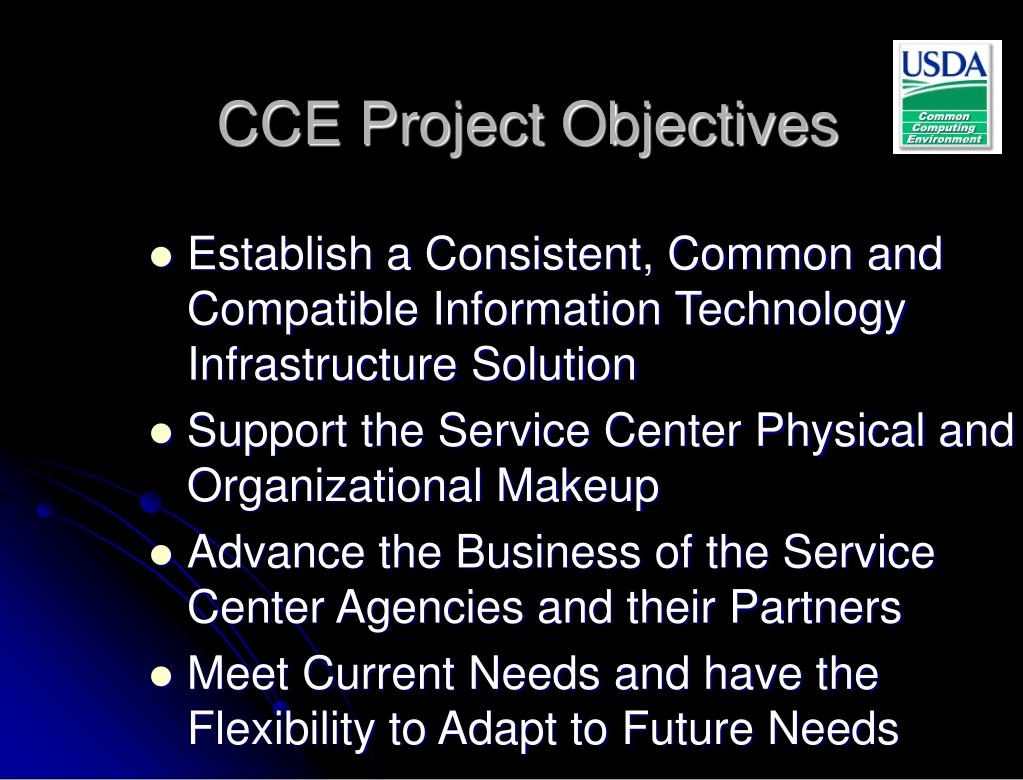 CCE Project Objectives