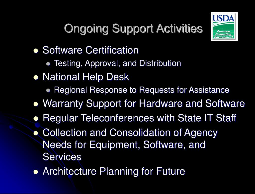 Ongoing Support Activities