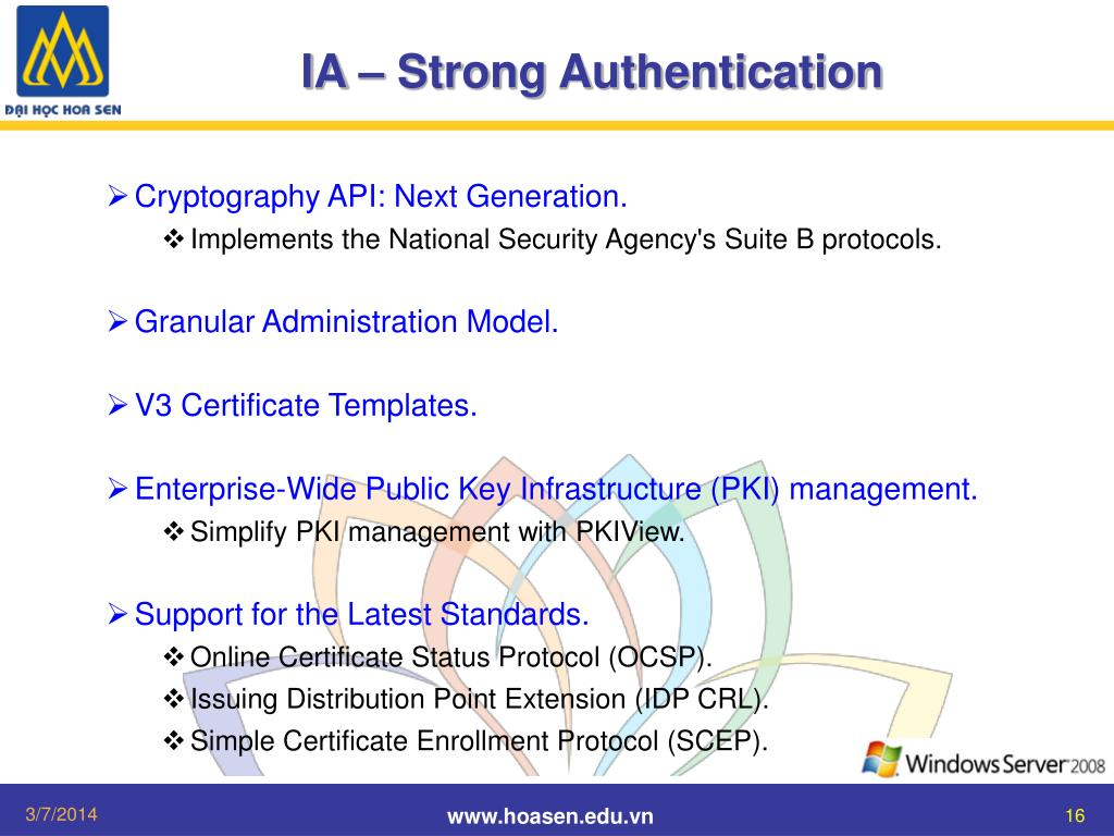 IA – Strong Authentication