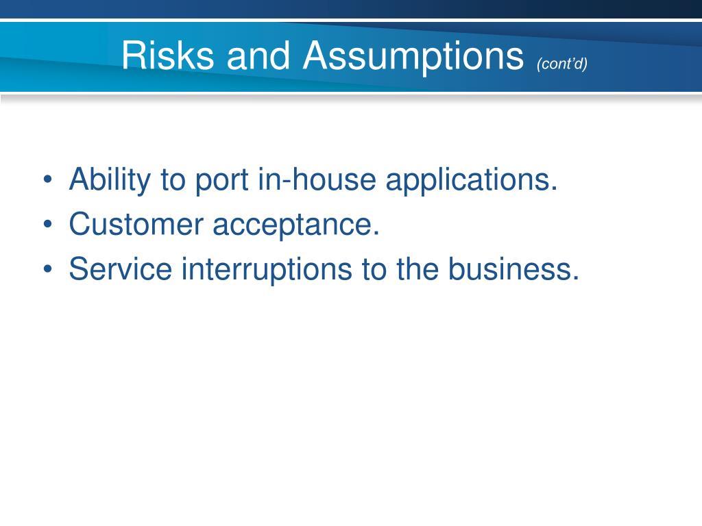 Risks and Assumptions