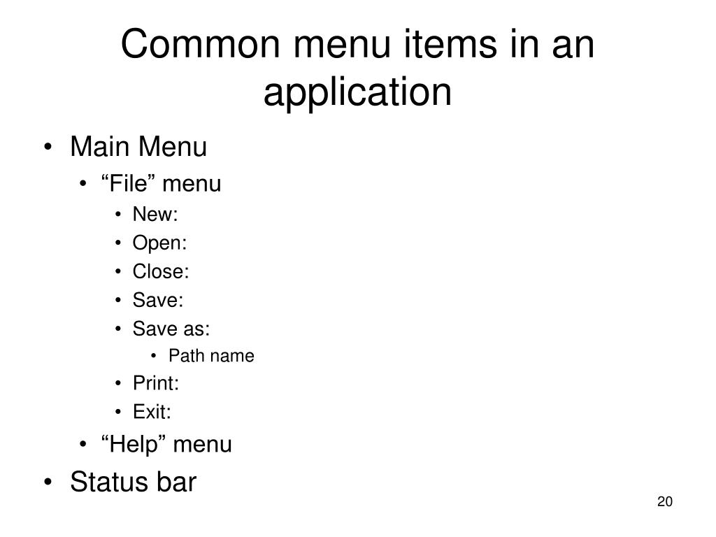 Common menu items in an application