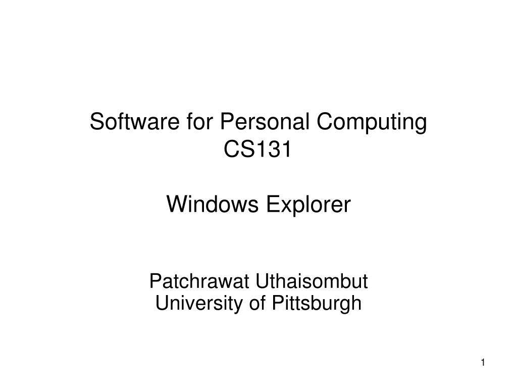 Software for Personal Computing