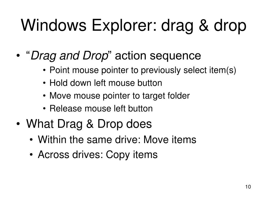 Windows Explorer: drag & drop