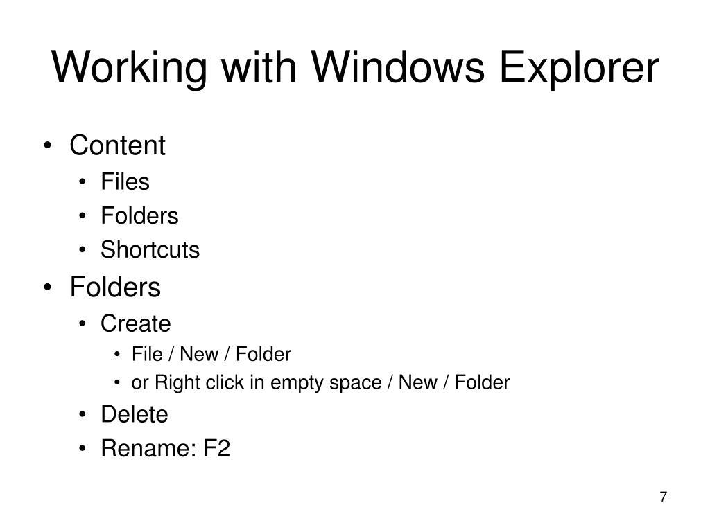 Working with Windows Explorer