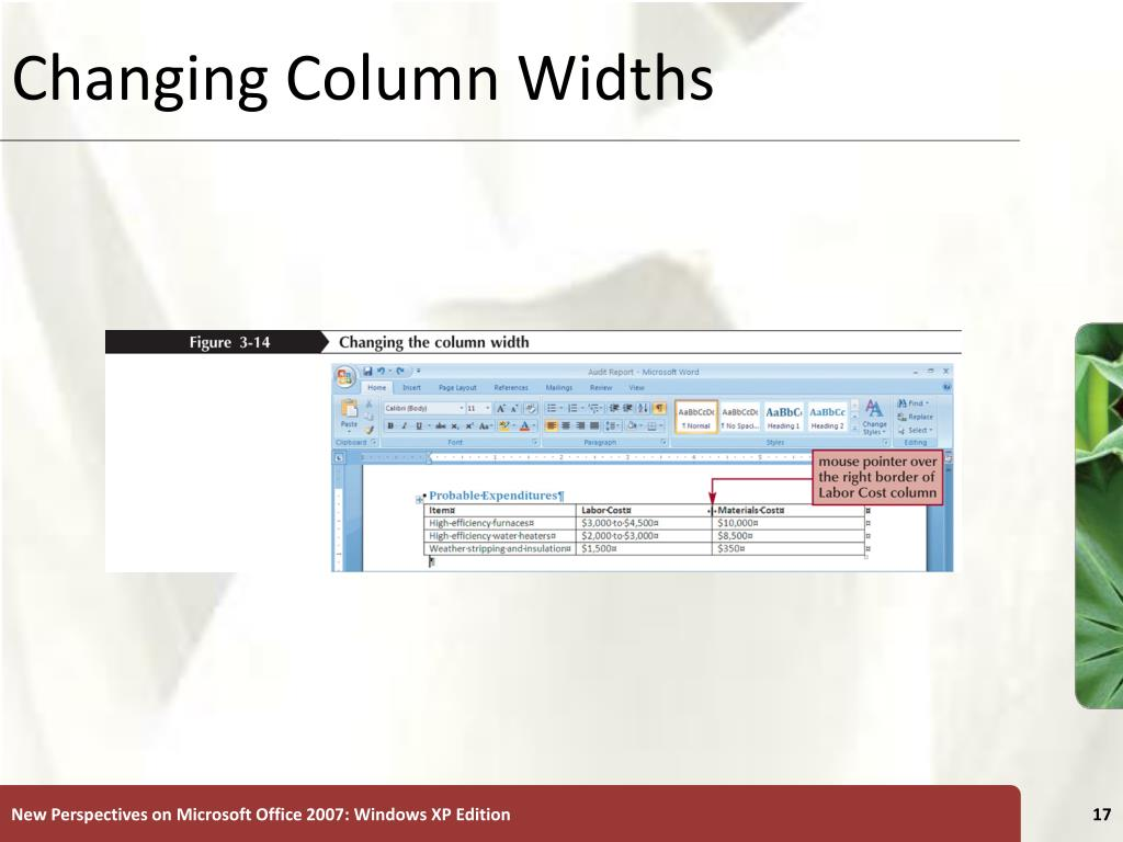 Changing Column Widths